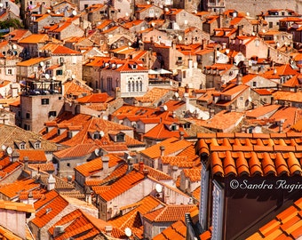 Travel decor, Croatia wall art, Dubrovnik fine art photography, travel photo, landscape, view over Mediterranean old red rooftops, cityscape