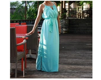 Turquoise Maxi Dress/ Lace Long Maxi Dresses/ Sundress/ Summer Dresses/ Blue Turquoise Womens Dresses/ Wedding Party Dresses