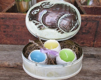 Easter Tin, Rabbit Bunny Tin, Easter Candle, Easter Egg Gift