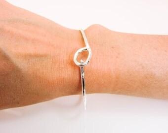 Sterling Silver Hammered Locking Bracelet - Sterling Hook & Eye Bracelet - Hand Forged Silver Bracelet - Locking Silver Bangle