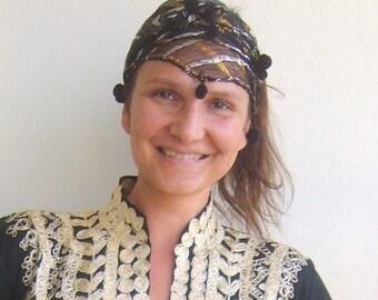 Ethnic headband fabric/black,gold and silver plaid scarf folk/turkish headpiece ethnic