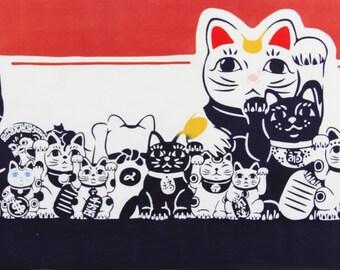 Japanese cat fabric, Tenugui Maneki-neko Fortune Cats, lucky cats japanese indigo blue fabric, kawaii fabric,Tenugui, japanese cotton