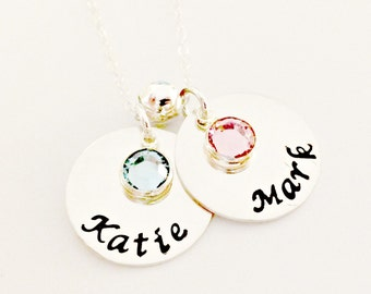 Personalized Couples or Mommy Hand Stamped Necklace with Sterling Spacer -Custom Jewelry for Her -Two Discs with Names & Birthstone Pendants