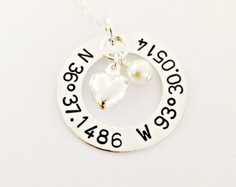 Hand Stamped Latitude Longitude Necklace - Personalized Custom Coordinate Jewelry with Silver Puffy Heart & Swarovski Crystal Pearl