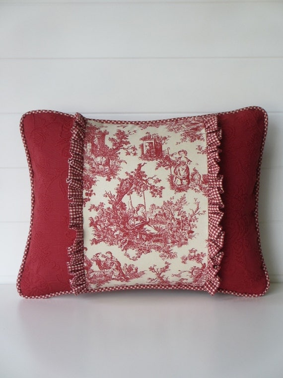 French Country Pillow Cover Toile Cushion Country French Red