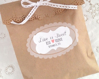 18 Love is Sweet  stickers - personalized stickers - custom wedding stickers - flourish rectangle stickers - favor seals