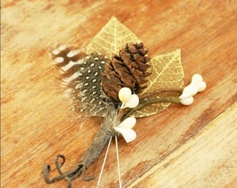Rustic Boutonniere, Woodland Boutonniere, Feather Boutonniere, Pinecone Boutonniere, Wedding Boutonniere, Bridal Buttonhole Woodland Natural