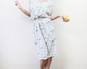White floral knee length viscose dress