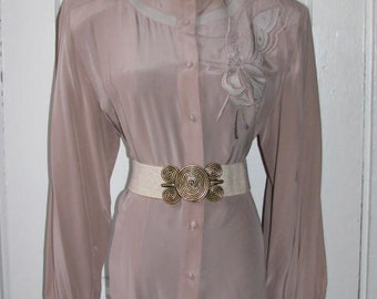 SILK SUZELLE BLOUSE //  80's Button Down Pleated Butterfly Leather Brown Tan Sand Shirt Golden Girls Costume