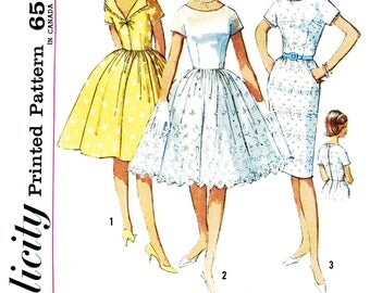 Simplicity 4972 1960s Dress Sewing Pattern, Full Gathered Skirt, Kimono Sleeves,  Lowered Round Neckline or Slim Fitting Dress,  Bust 34