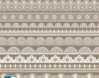 Lace Borders - Digital Clipart / Scrapbooking - card design, invitations, paper crafts, web design - INSTANT DOWNLOAD