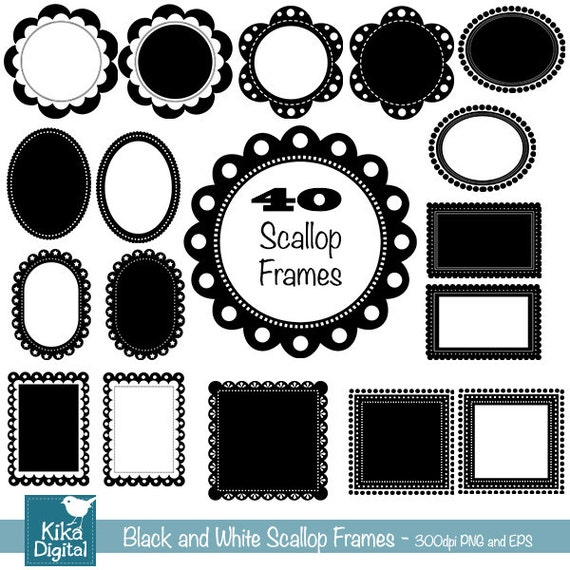 Scallop Digital Frames - 40  Digital Clipart - Scrapbooking, card design, invitations, web design, photography - INSTANT DOWNLOAD