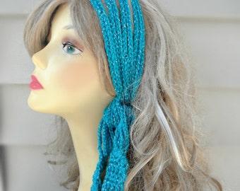 Crochet Headband Chain Headband Hippie Headband Festival Headband Metallic Headband Hair Accessories Crochet Accessories crochet boho band