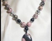 Black and Dusty Pink Gemstone Necklace/Rhodonite, Black Agate and Black Onyx with Sterling Silver Beads. Handmade Pendant Jewellery. OOAK