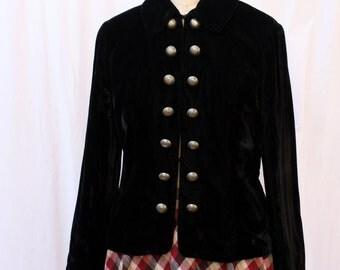 Victorian-Style Black Velvet Blazer / Jacket, Lucia Lukken, vintage 1980s, size small
