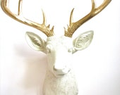 CREAM with Gold XL  Faux Taxidermy Deer Head wall mount hanging:  Doug the XL Deer Head // chic //  fake deer // office // nursery // kids