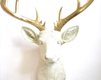 CREAM with Gold XL  Faux Taxidermy Deer Head wall mount hanging:  Doug the XL Deer Head // chic //  fake deer // office // nursery // kids
