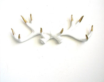 Gold Tips Faux Antler Rack Wall mount wall hanging wall antlers home decor in crisp white with gold painted tips jewelry hanger sweater hook