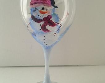 Hand painted wine glasses, Snowman couple, 20oz, set of 2
