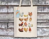 Chickens Tote Bag, Reusable Shopper Bag, Ethically Produced Shopping Bag, Cotton Tote, Shopping Bag, Eco Tote Bag