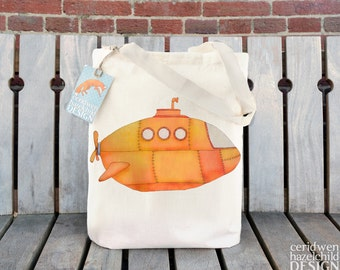 Yellow Submarine Tote Bag, Ethically Produced Shopping Bag, Reusable Shopper Bag, Cotton Tote,  Eco Tote Bag