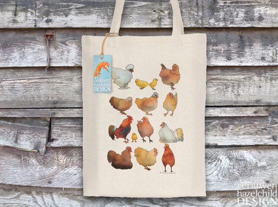 Chickens Tote Bag, Reusable Shopper Bag, Ethically Produced Shopping Bag, Cotton Tote, Shopping Bag, Eco Tote Bag