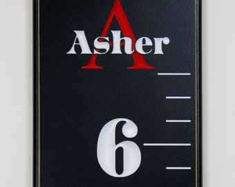 Fully Carved Wooden Growth Chart With personalized Name And Initial