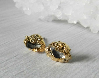 Herkimer Diamond Stud Earrings, Gold Earrings, Druzy Earrings, Gold Nugget