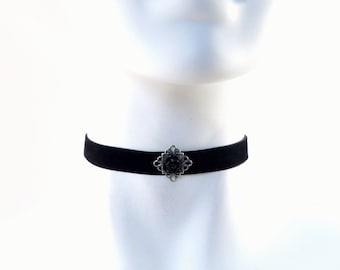 Black Rose Choker Necklace with Silver Filigree over Velvet - Classic, Romantic, Gothic, Feminine