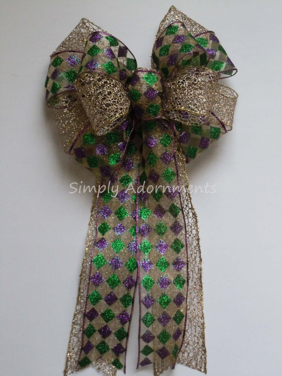 Mardi Gras Party Decor Mardi Gras Christmas decor Harlequin Wreath Bow Mardi Gras Bow Mardi Gras Christmas wreath bow Mardi Gras swag Bow