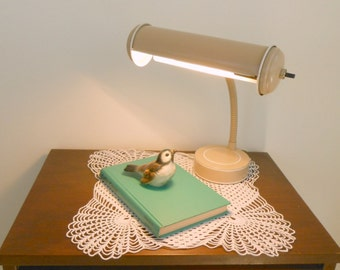 Enamel Desk Lamp, Tan and White, Adjustable Gooseneck, Mid Century Modern, Industrial