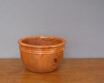 Cherry wood salad bowl, wood turning, warm, dark reddish brown