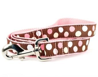 Brown pink polka dot leash- large,  chocolate brown with pink, white, and vanilla polka dots: Neapolitan Dot