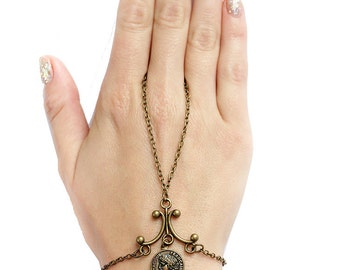 Antique Brass chain hand piece Slave Bracelet with coin ring Boho Bohemien attached ring