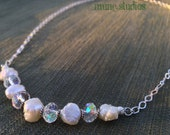 Fire and Ice - Quartz Crystal and Freshwater Pearl Sterling Silver Necklace
