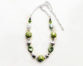 Olive Green Necklace. Chunky Beaded Necklace in Mint, White + Sage. Silver Shabby Chic Necklace. Handmade Womens Fashion Jewelry.