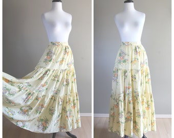 Bright Yellow Floral Vintage Bohemian Long Peasant Skirt / 1960s 1970s