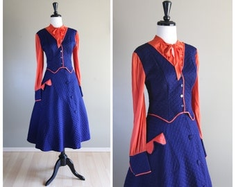 Navy Blue & Coral Orange Lovely Vintage 1950s Quilted Blouse Circle Skirt Set / Dress / Pinup Rockabilly VLV / Costume Unique