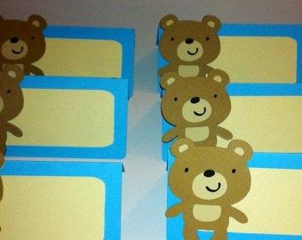 12 Teddy Bear theme place cards / food tents, teddy bear baby shower, teddy bear birthday, teddy bear party decorations, teddy bear picnic