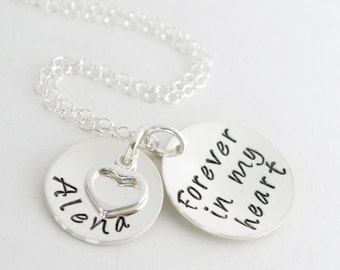 Personalized Sympathy Gift Bereavement Forever In My Heart Necklace Hand Stamped Sterling Silver