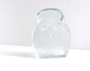 Blenko Glass Owl Mid Century Modern Clear Art Glass by Joel Myers