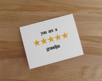 Five Star Grandpa - Birthday, Valentine, or Fathers Day Card for Grandfather