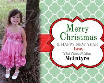 Green quatrefoil Christmas cards