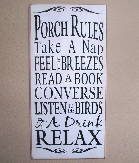 PORCH RULES - Wood sign - hand painted - white with black lettering  - large - subway art - typography - rustic -
