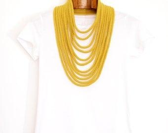 mustard merino wool knitted necklace