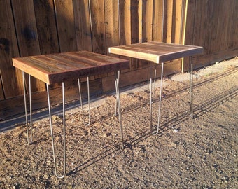 """End Table or Night Stand - with hairpin legs - 20"""" x 20"""" x 22"""""""