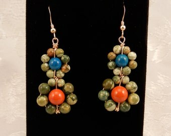 Gold Wrapped Dangle Beaded wire earrings