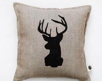 Reindeer head pillow cover - gray linen - decorative covers - throw pillows - shams 14x14/16x16/18x18/20x20   0117