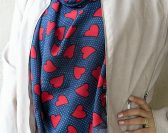 Pashmina scarf,  hearts scarf. Turkish long Scarf . red and navy blue  scarf,authentic, romantic, elegant, fashion, personalized design...