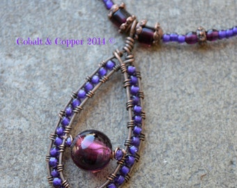 Violet & Amethyst Wire-Wrapped Necklace